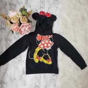 Minnie Mouse Black Pullover Hoodie Ears & Red Bow